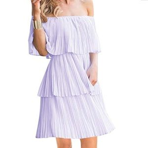Off the Shoulder Ruffle Dress - Brand New